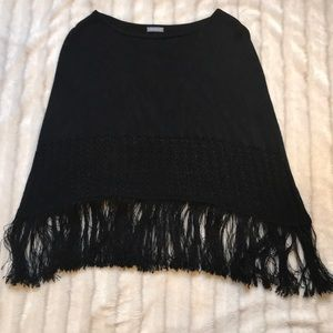 Ann Taylor black fringe sweater poncho, one size